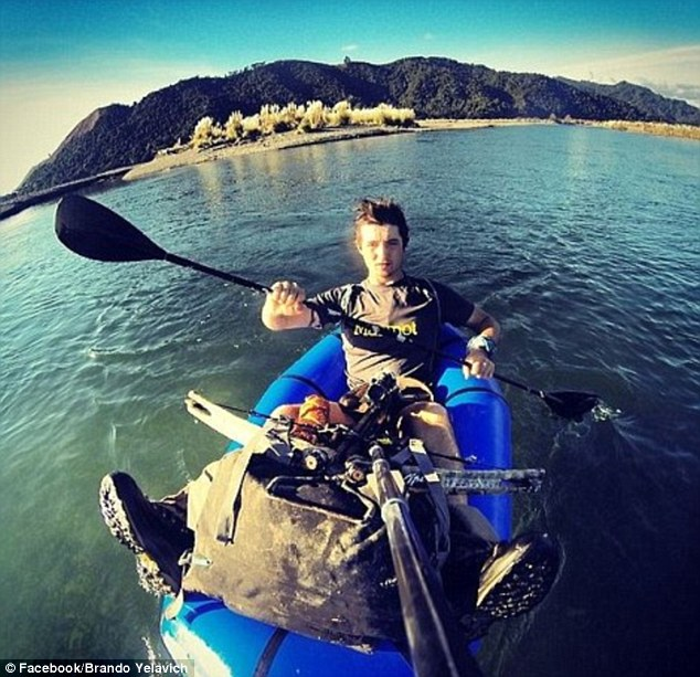 Riding solo: Mr Yelavich set off on his adventure when he was just 19 with a 50kg backpack
