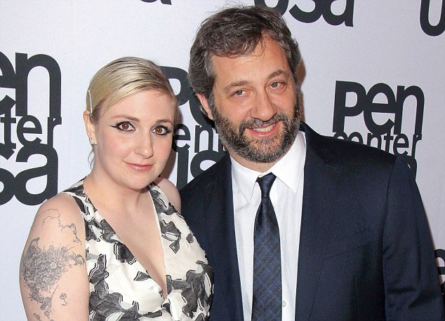 Tavi's friend Lena Dunham (left) and director Judd Apatow  (right), who have contributed to Rookie. 'I have asked her for career advice,' she said