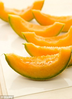 Cantaloupe is high in fibre and water, which fills out the volume of our stomachs