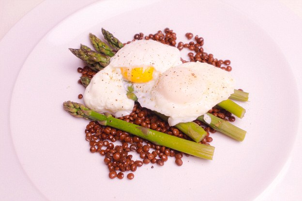 The egg yolks provide your body with essential fats, whilst the lentils will slowly release their energy