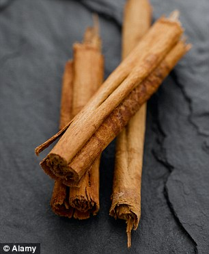 Cinnamon has cinnamaldehyde which stimulates the metabolism of the fatty visceral tissue
