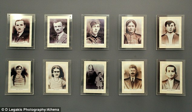 Museum: Pictures of some of the 218 victims massacred by the Germans, on the walls of the Museum for the Victims of Nazism in Distomo, Greece. Ironically, it was paid for by the EU