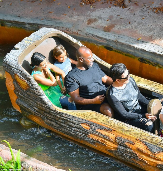Fun times: Mason Disick held onto the hand of his mother Kourtney as they along with Corey and Kris seemed to enjoy the ride