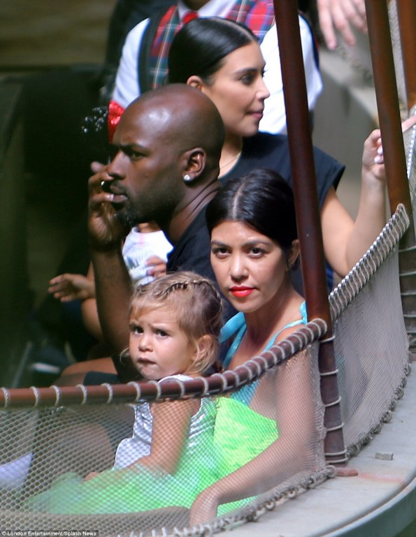 Family fun: Penelope and Kourtney were joined by Kris Jenner's toyboy Corey Gamble along with Kim and North on the boat
