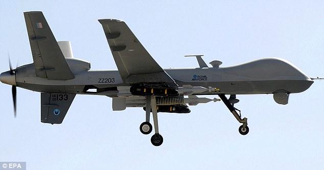 Muerte desde arriba: cazas Tornado del Reino Unido y los drones Reaper a control remoto (en la foto) han llevado a cabo 194 ataques sobre Irak a partir del 23 de Marzo - matando a 242 militantes