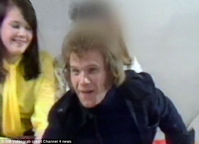 Starr insisted he had never met the then-15 year-old Karin Ward (pictured in yellow behind Starr)  but was forced to climbdown after this footage emerged of Ms Ward sitting behind him on 1974 TV show Clunk Click