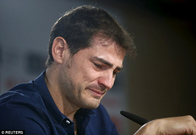 A tearful Casillas struggled to read a statement during the press conference on Sunday morning