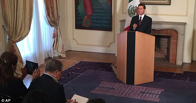 Mexico's president Enrique Pena Nieto, who is in France, addressed reporters on Sunday afternoon
