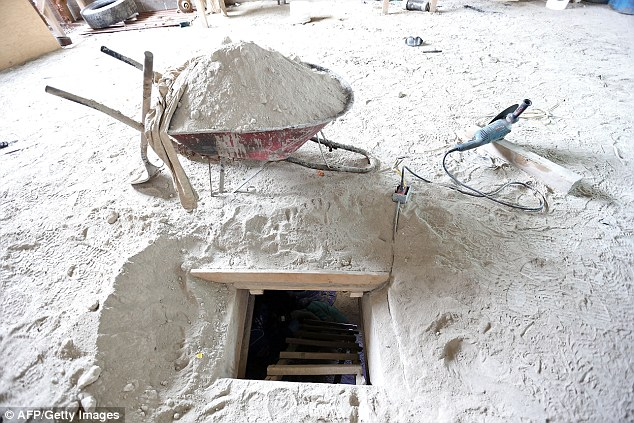 Heavily concealed: The alleged end of the tunnel through which Mexican drug lord Joaquin 'El Chapo' Guzman could have escaped from the Altiplano prison