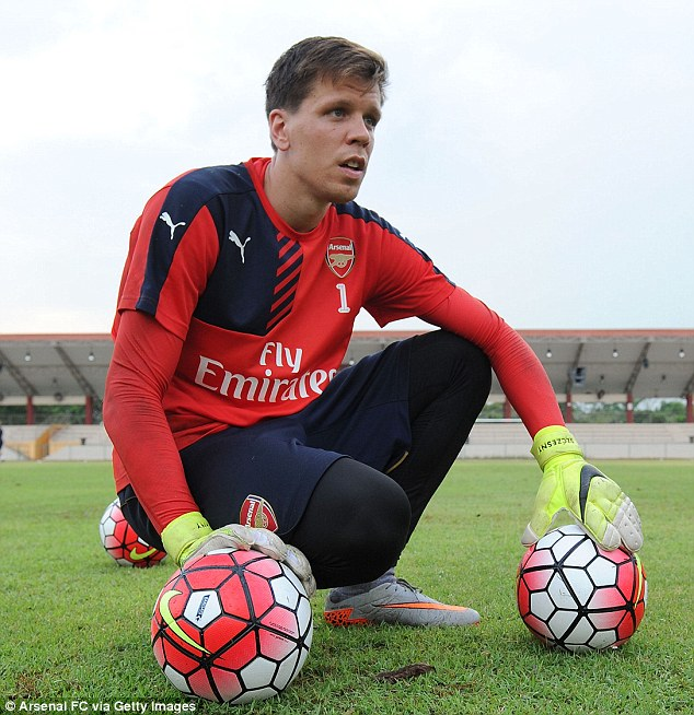 Goalkeeper Szczesny has his hands full as he takes a breather during an Arsenal pre-season training session