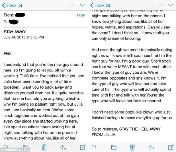 This is the message a Reddit user posted online claiming he received it from a senior colleague
