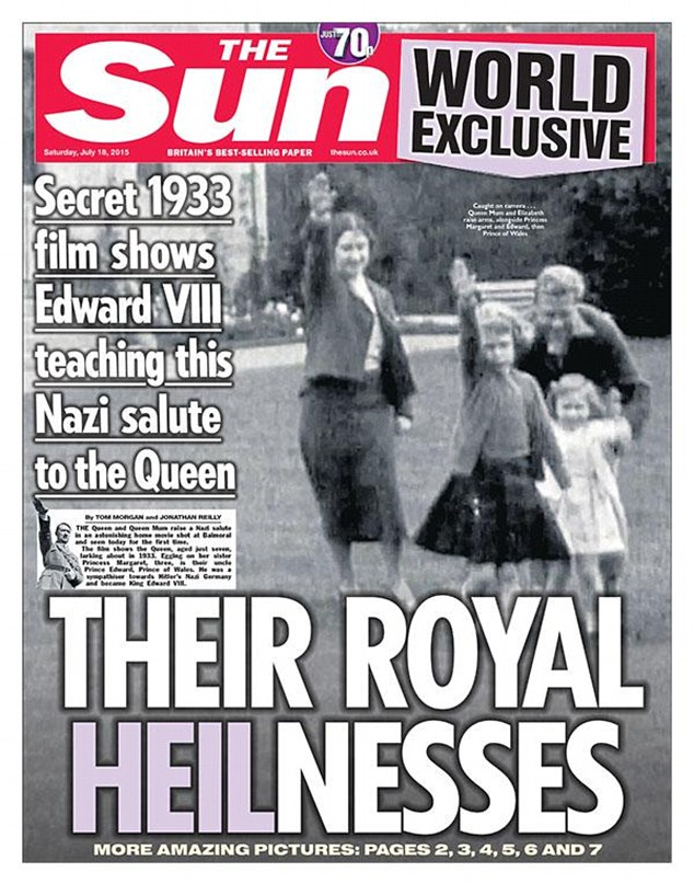 Leaked: The Sun last week published 1933 footage alleging to show the then seven-year-old Queen being taught the Nazi salute at Balmoral