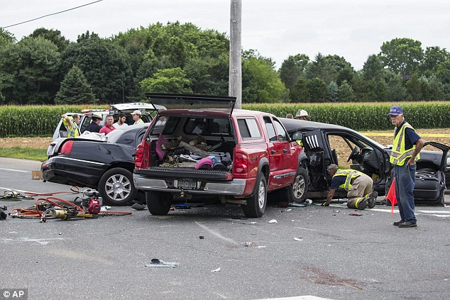An extended cab truck T-boned the limo, which was carrying seven women, around 5pm on Saturday