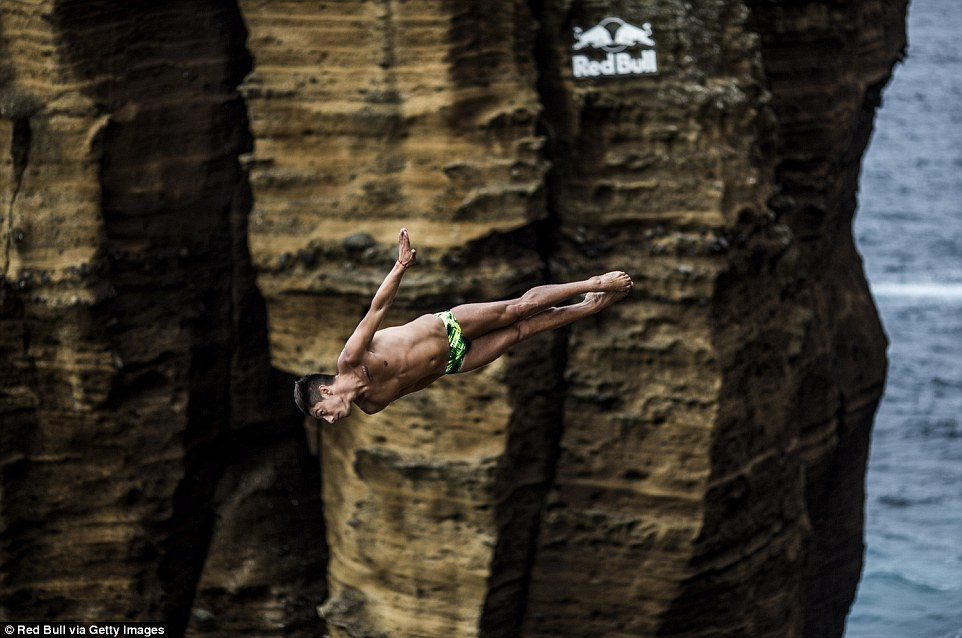 The divers almost literally fly in the face of rocks; pictured here is Mexico's Jonathan Paredes who finished second