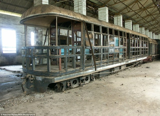 The Royal carriage: One of the recovered steam engines included a a royal carriage – built for Queen Elizabeth II who was due to visit in 1961 – which was never used