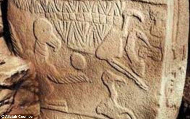 These pictograms found on a pillar of rock at the ancient city ofGöbekli Tepe are thought to be the oldest written language yet discovered. Thought to be 12,000 years old, they show a vulture on the left with a human head, which is thought to depict the practice of sky burials used during the Neolithic period