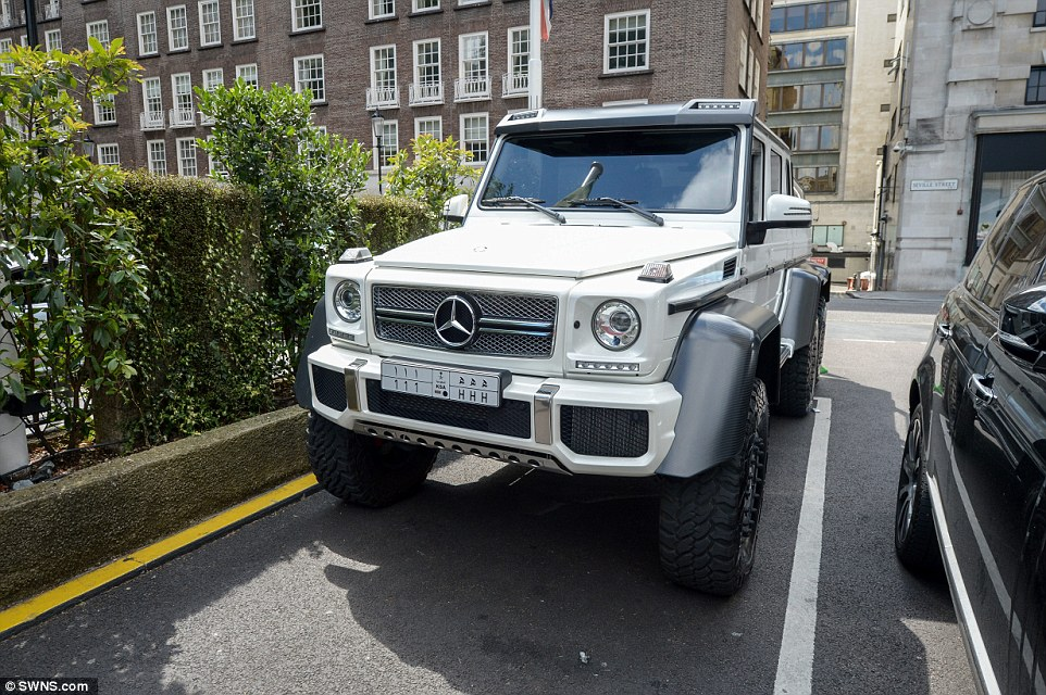 This Saudi-registered, six-wheel, adapted Mercedes AMG, which has an estimated value of £400,000 was also spotted parked-up in Kensington