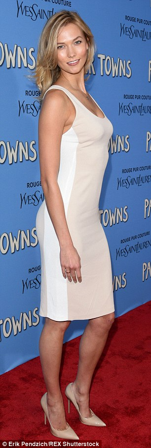 Cream of the crop! Karlie Kloss captivated in a tan mini dress at the premiere of Paper Towns in New York City on Tuesday