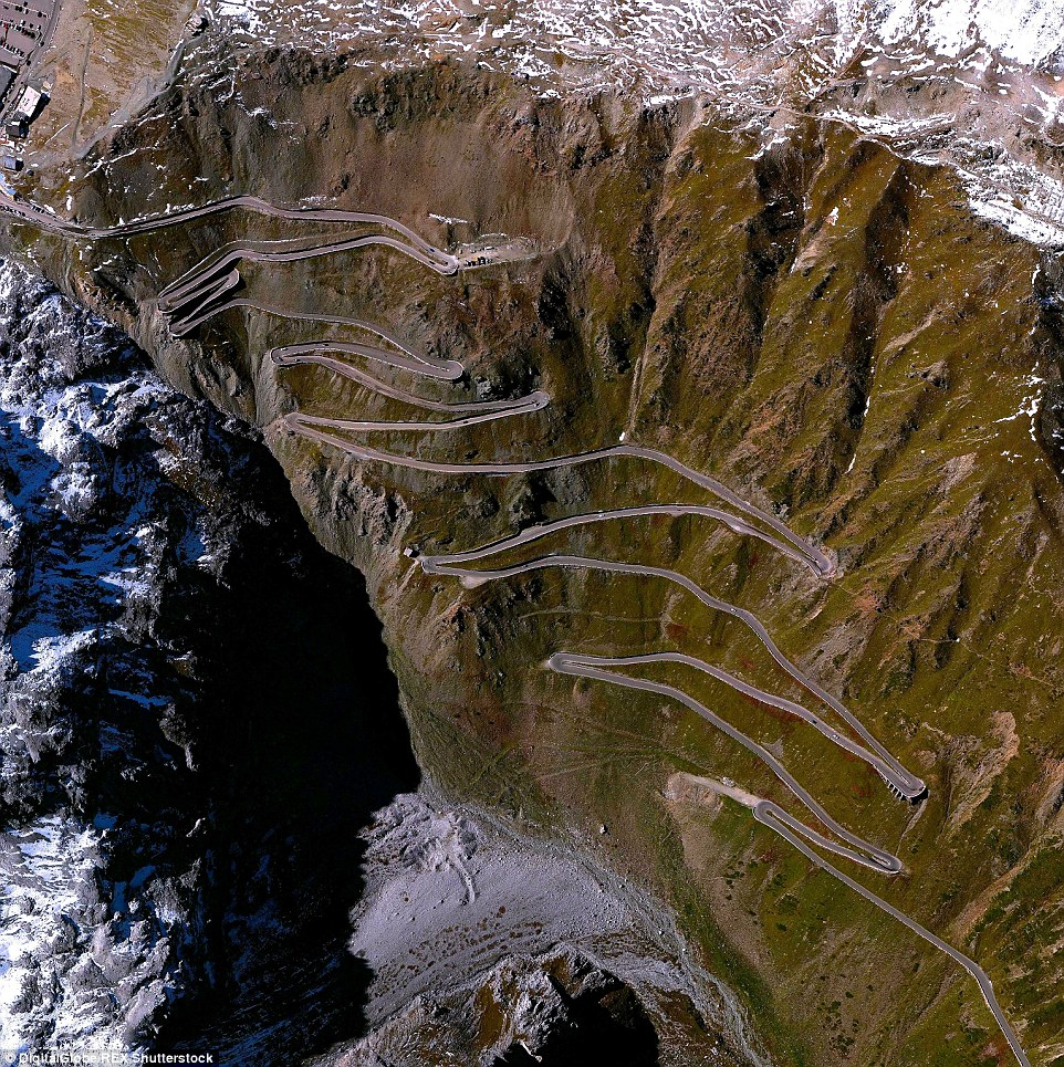 The roads crossing along the Stelvio Pass, a road in Northern Italy, are the highest paved routes in the Eastern Alps