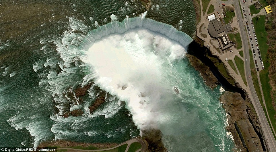 Niagara Falls, which straddle the border between Ontario and the United States, make for a majestic satellite shot