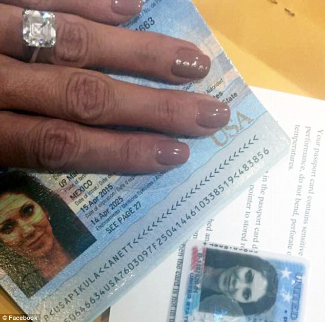 Passport: This photo of Pikula's passport, posted on her Facebook page, shows that she was born in Mexico. The defendant appears to be wearing an engagement ring in the photo, which was captured in April this year