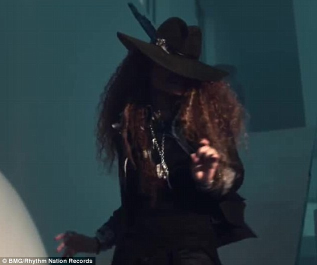Love ya brother: Janet pays homage to Michael Jackson in the clip, with a scene where she tips her hat in a dance move