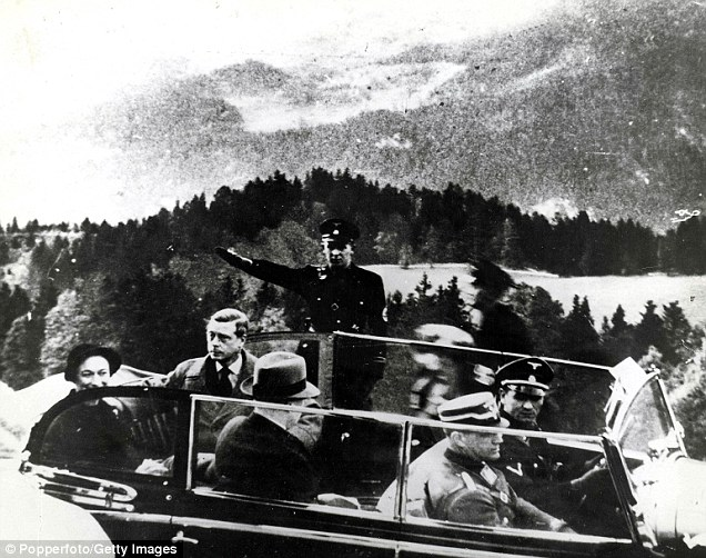 When Edward did abdicate in December 1936, the Nazis lost a friend. Above, the Duke of Windsor and Wallis Simpson pictured at Berchtesgaden after visiting Adolf Hitler in 1937. According to equerry Dudley Forwood, who accompanied the Duke on the tour, Edward said to Hitler: 'The Germans and the British races are one. They should always be one. They are of Hun origin'