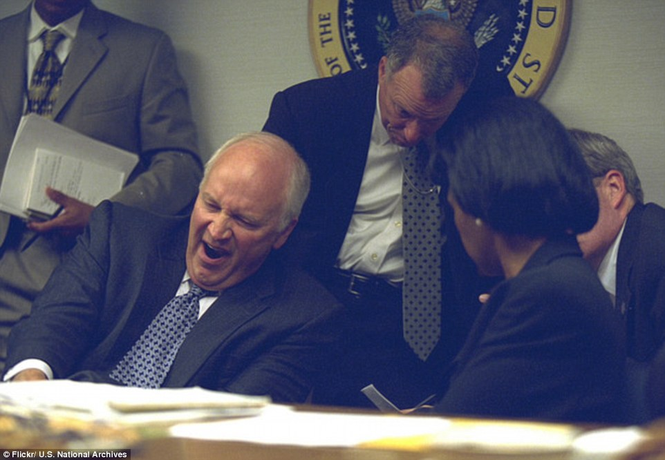 Aftermath: Cheney, now 78, leans backward and yawns in one of the photos, released following a Freedom of Information Act request