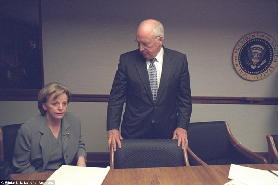 Spouse: Cheney's wife, Lynne (left), was also brought to PEOC for security reasons. She and her husband were later flown to safety