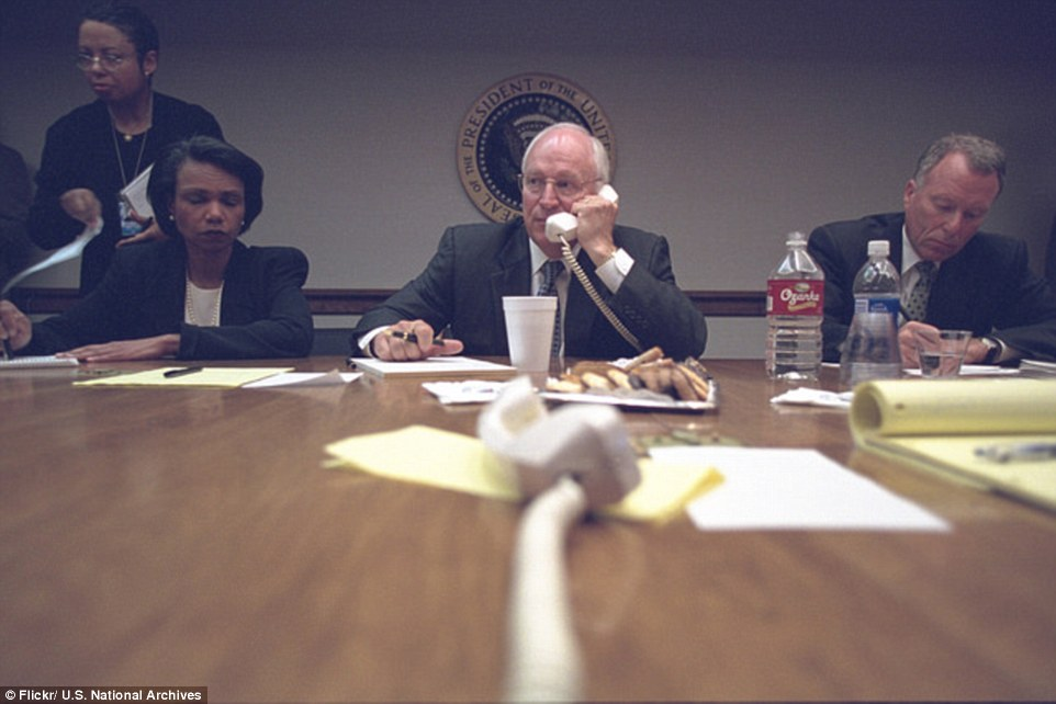 Communications: Cheney (pictured speaking on the phone on the day of the attacks) has  defended the harsh interrogation techniques used by the CIA in the wake of the attacks, which included the waterboarding of 9/11 mastermind Khalid Sheikh Mohammed 183 times