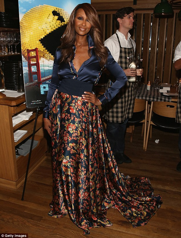 Flawless: Supermodel Iman, pictured at a dinner in New York earlier this week, marked her 60th birthday today with a series of fierce Instagram snaps