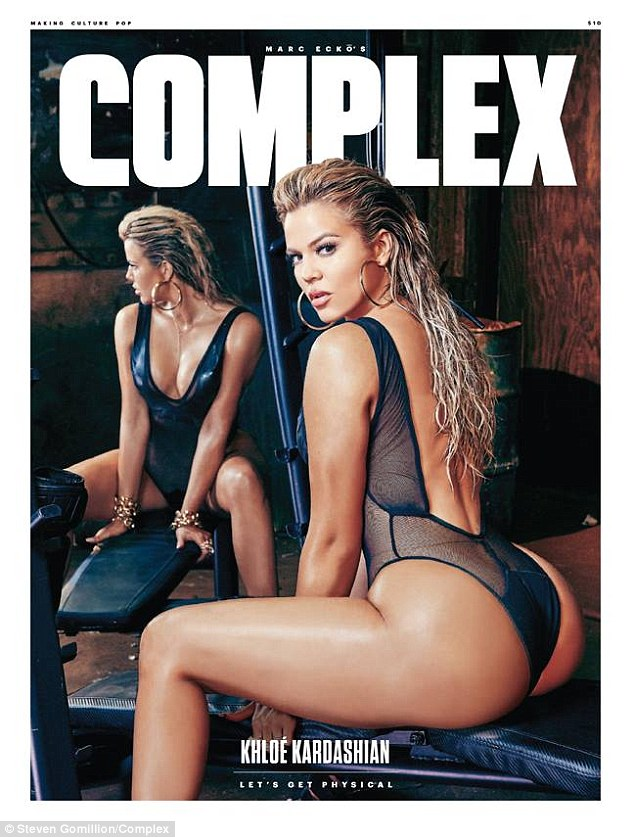 Let's get physical: The 31-year-old reality staradmitted she was 'seriously obsessed' with the sporty spread shot by Steven Gomillion for the mag's August/September edition