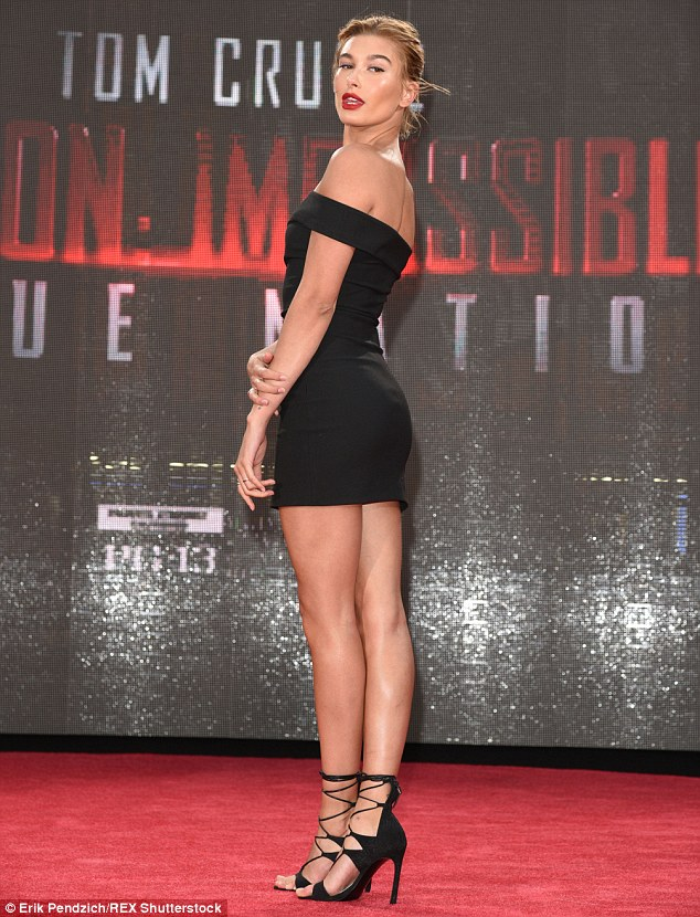 Haute stuff:The blonde beauty - who has been romantically linked to Justin Bieber - also took the opportunity to show off her long legs in a short black dress