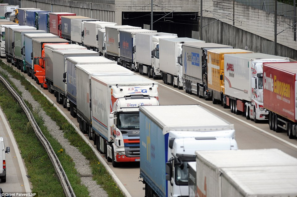 Traffic jams: Holidaymakers have faced hours of motorway queues throughout the summer, before they even make it out of the country due to chaotic migrant activity at Calais