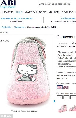 Daily Mail Australia could find only one partial match for the found slipper, a French 'chausson' (above) for 0-18 month old girls strikingly similar in design but with a 'Hello Kitty' motif instead, suggesting the butterfly slipper may be a copy