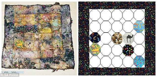 Can you fill in the gaps?: Seven hexagonal squares out of 25 plus the border in the degraded quilt (left) have had their fabric positively identified (right), with the star material being a Spotlight fabric possibly made in the US, and readers eagerly trying to match up the faded remnants with textile patterns they know