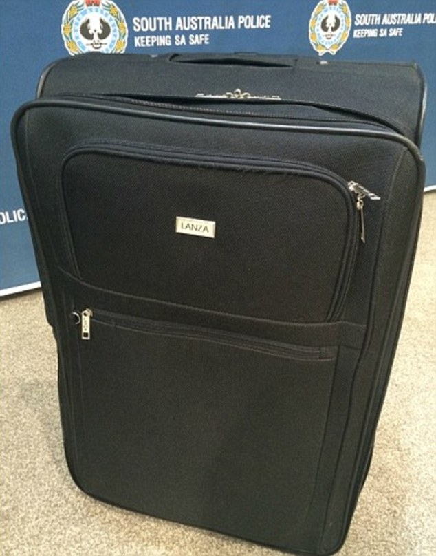 An original Lanza brand suitcase (pictured) which SA police presented at a press conference about the continuing investigation into the murdered 'suitcase girl' dumped 120km south-east of Adelaide