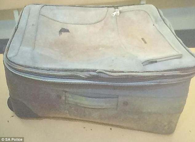 This weather-beaten suitcase (above) was dumped by the Karoonda highway and lay there for weeks until a passer by stopped and and inspected it, along with children's clothes among which was the skeleton of an unidentified murdered girl
