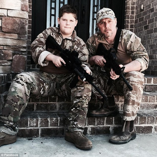 Desert trek: Jones, pictured above with his son, Ethan, said he was left to walk back to base in 120-degree heat after his so-called comrades dumped him in the desert