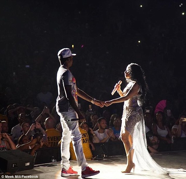 'It's complicated': The 32-year-old rap diva is said to have remained on 'good terms' with her 28-year-old opening act and he's agreed to continue the Pinkprint Tour