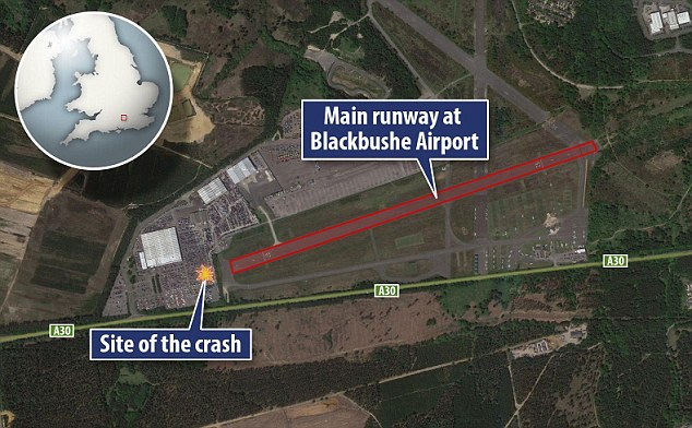 The aircraft tried and failed to land on the main runway at Blackbushe and instead ploughed into the car park
