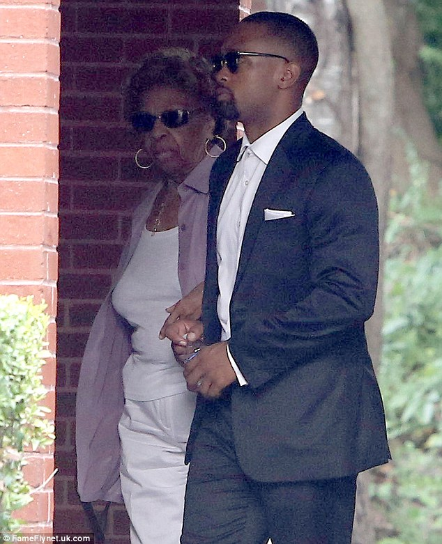 Upset: Singer CIssy Houston is seen arriving at her granddaughter's wake amid family quarrels