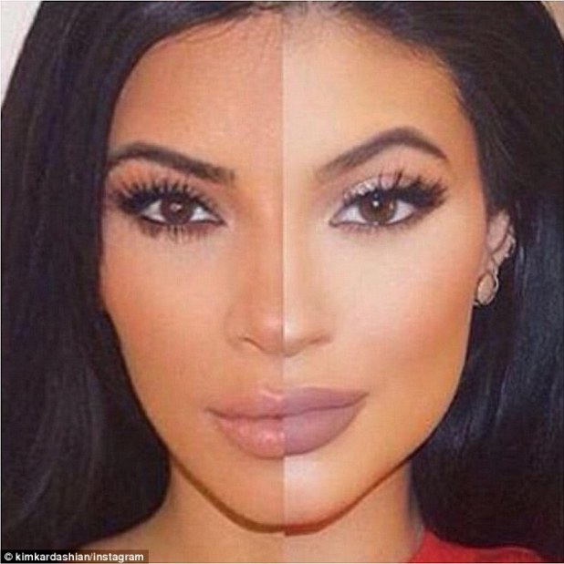 Strikingly similar! The reality TV star compared herself to her younger half-sister Kylie Jenner, 17, with this split she captioned, 'Kim x Kylie'