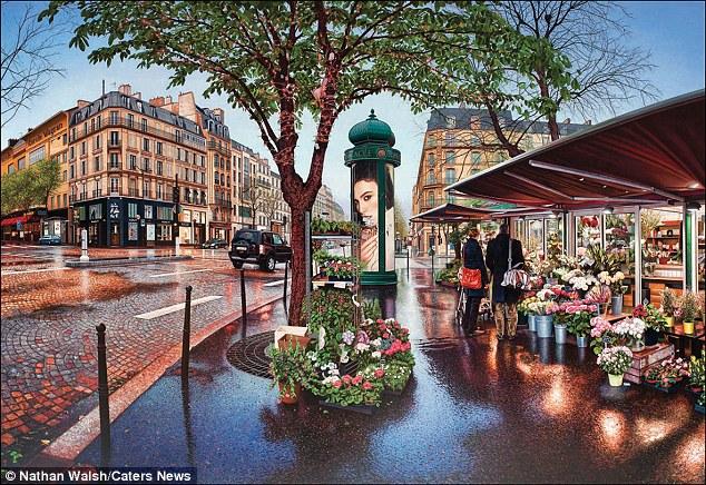 """Nathan disse: """"Antes de eu visitar uma cidade que eu não tendem ter uma ideia clara do que eu gostaria de pintar - eu simplesmente passear em torno à espera de algo para se conectar com '.  Na foto é uma noite em Paris"""