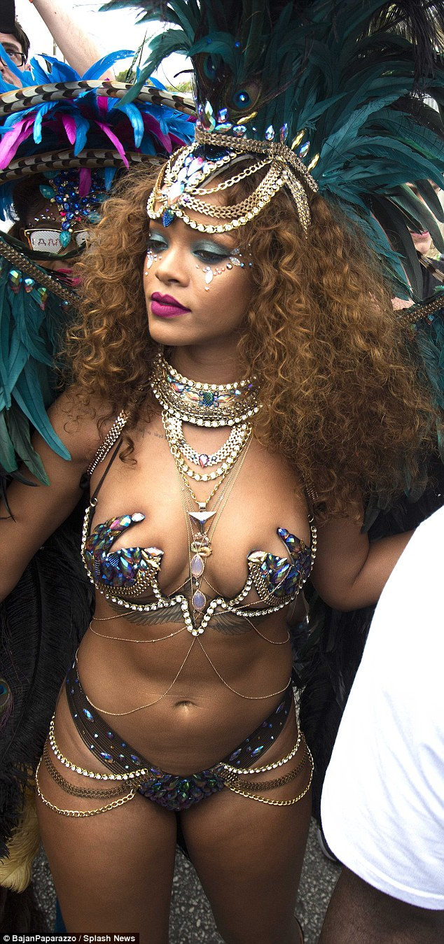 Carnival queen: Rihanna wore an eye-catching look for the big street event