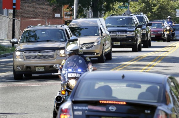 History repeating: The hearse drove was followed by two SUVs carrying relatives. Whigham Funeral Home is the same facility that handled arrangements three years ago for her mother, Whitney Houston