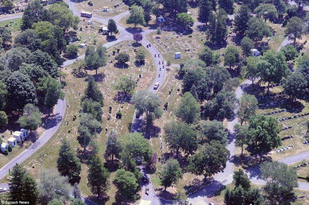 The golden hearse carrying Bobbi Kristina Brown to her final resting place at Fairview Cemetery in New Jersey seen from above