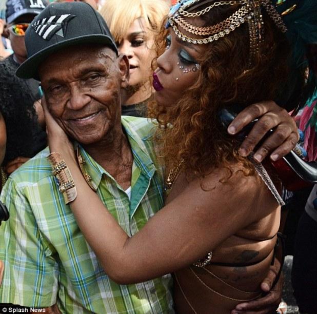 Family love: RiRi was seen embracing her grandad