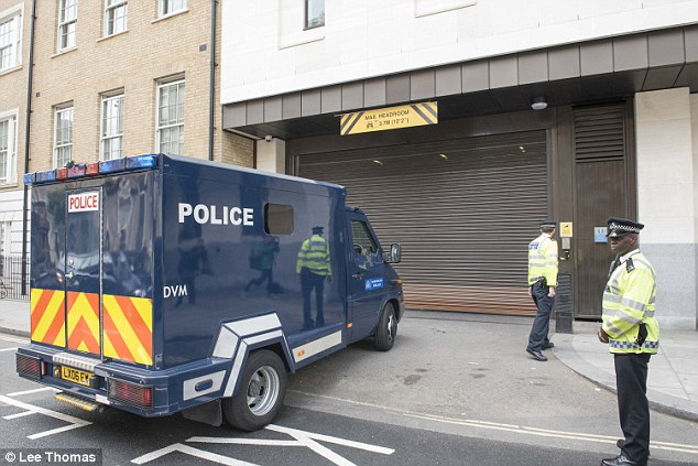 A police van arrives at Westminster Magistrates' Court today for the case, which was due to be heard at 2pm