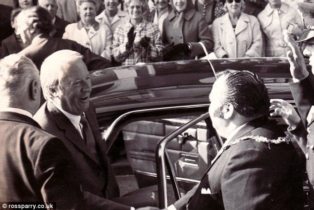 New inquiry: Police are investigating links between Sir Edward Heath and paedophile mayor of Scarborough Pater Jaconelli, known as 'King Cornet', pictured together meeting in the early 1970s